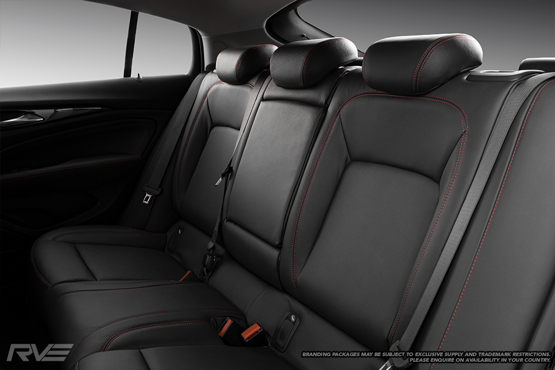2019 Holden Commodore in OEM spec black leather with red stitching and perforated inserts.