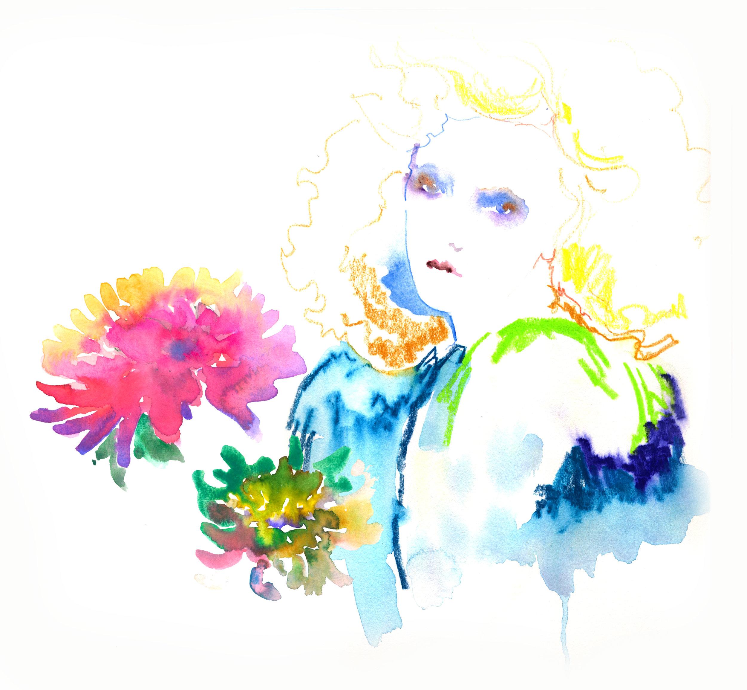 Colour Pencil and Watercolour wash