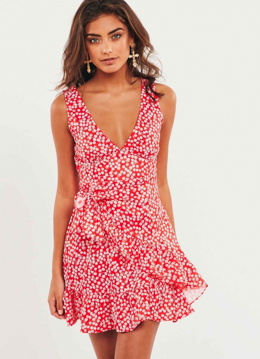 Peace and Quiet Dress, Red Floral