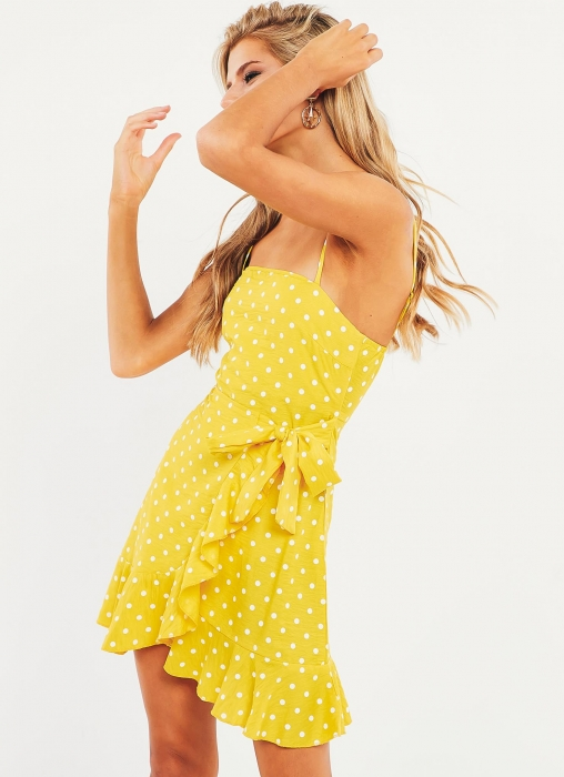 Young Love Dress, Yellow Dot