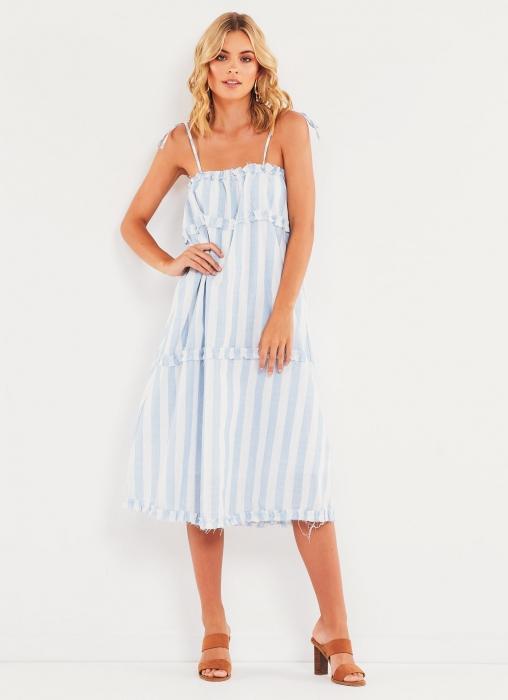 California Valley Dress - Blue Stripe