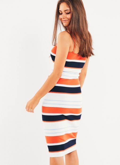 Purnia Dress - Navy-Rust Stripe