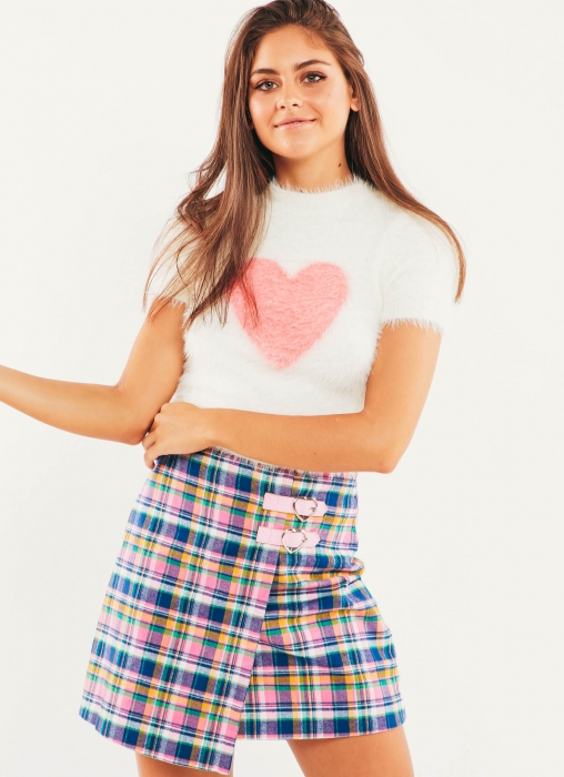 Fluffy Heart Knit Top - White