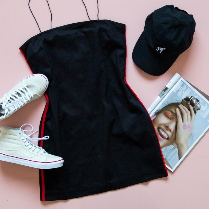 Racing Stripes Dress - Black, SK8-Hi Slim Leather Canvas Sneaker - Bone%2FTrue White, Dalmatian Cap - Black.jpg