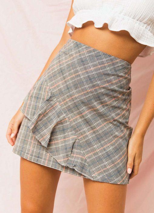 Eathan Mini Skirt - Grey Check Print