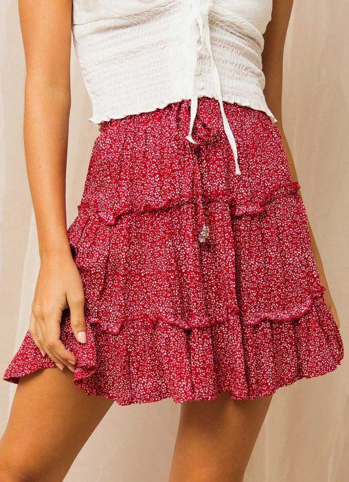 Rhett Mini Skirt - Red Floral Print