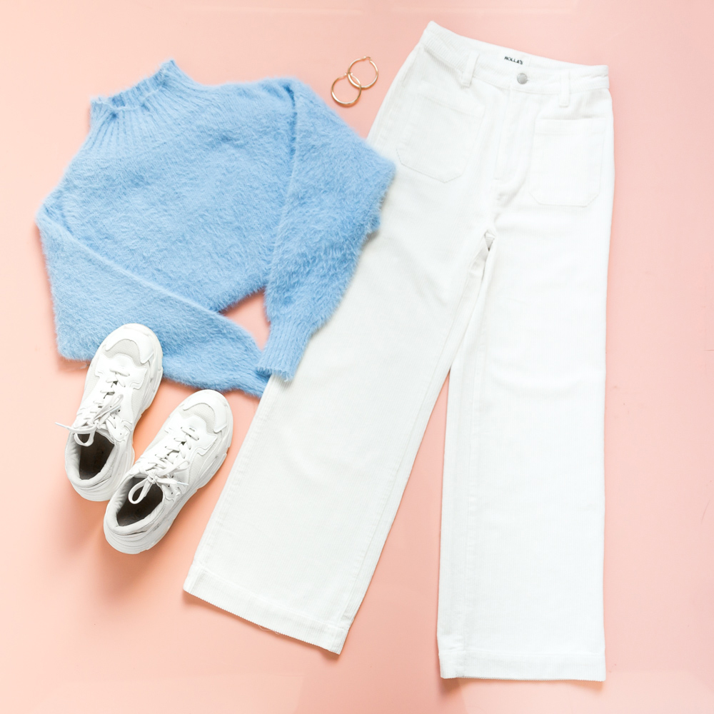 Gilligan Sweater, Sailor Cord Pants - vanilla, urbain gold hoops, mutha sneakers - white.jpg