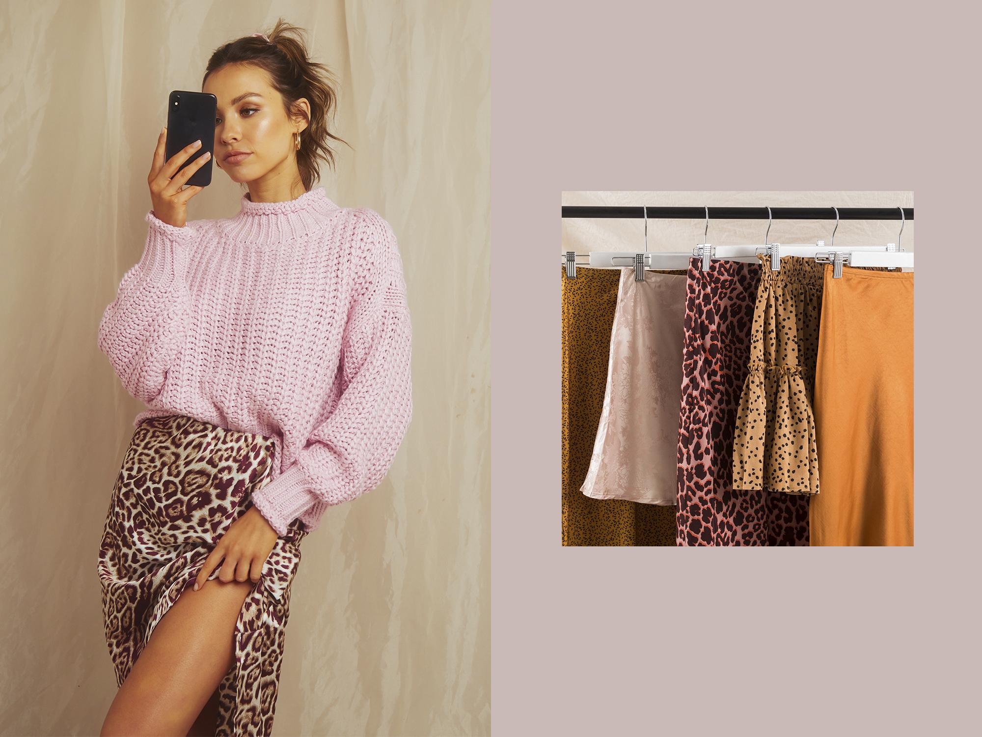 Left: Tooki Bloom Sweater and West Village Skirt  Right: Verona Skirt, Adama Skirt, Leopard Skirt, Nuance Skirt and Verona Skirt