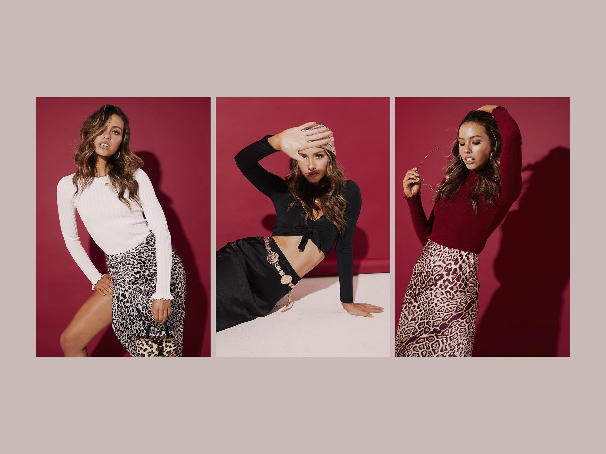 Rosey Hefner Skirt, Ami Miller Top and Abbico Box Bag; Verona Skirt, Foxy Kim Top, Sachi Chain Belt and Geofferson Satin Scarf; West Village Skirt and Phoenix Top