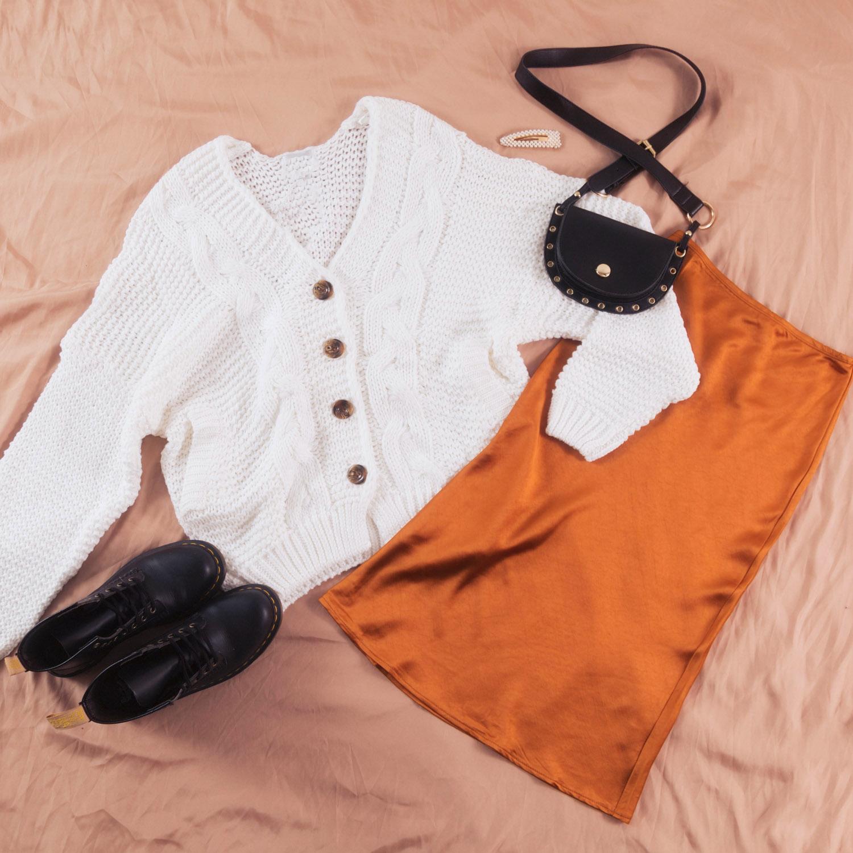 Cloudberry Cardigan, Verona Skirt, Dr. Martens 1460 8 Eye Boots - Smooth, Malia Bumbag and Gabrielle Hair Clip