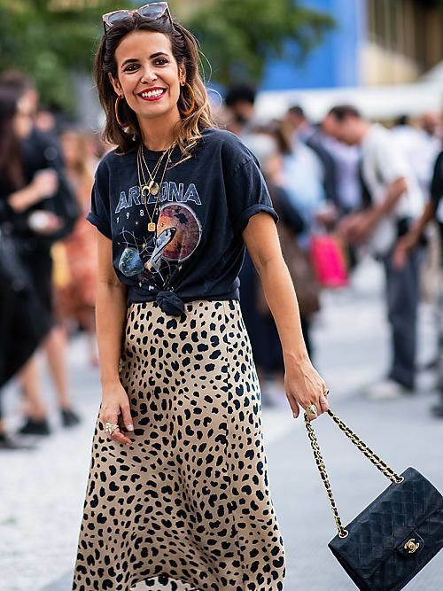 Printed Tees - Pair your slip skirt with a printed tee for an edgy look.
