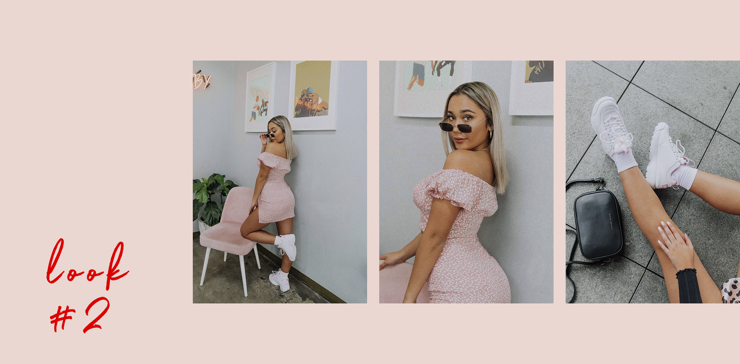 Lacey wears the:   Bellarose Top ,  Evelyn Skirt  and  FILA Sneakers