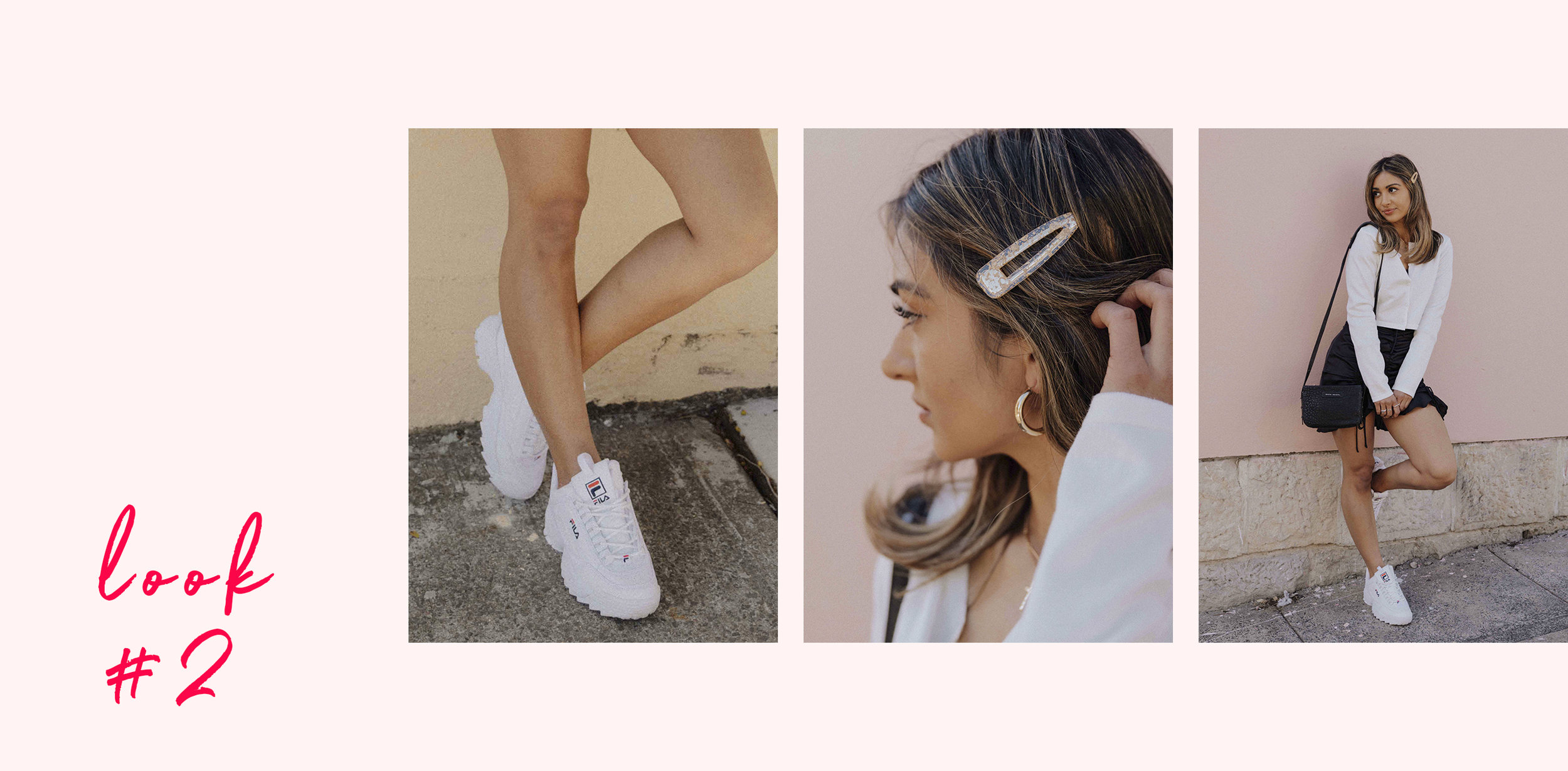 Ellese wears the  FILA Disruptor Sneakers ,  Golden Girl Hairclip  and  Cher Cropped Cardigan.