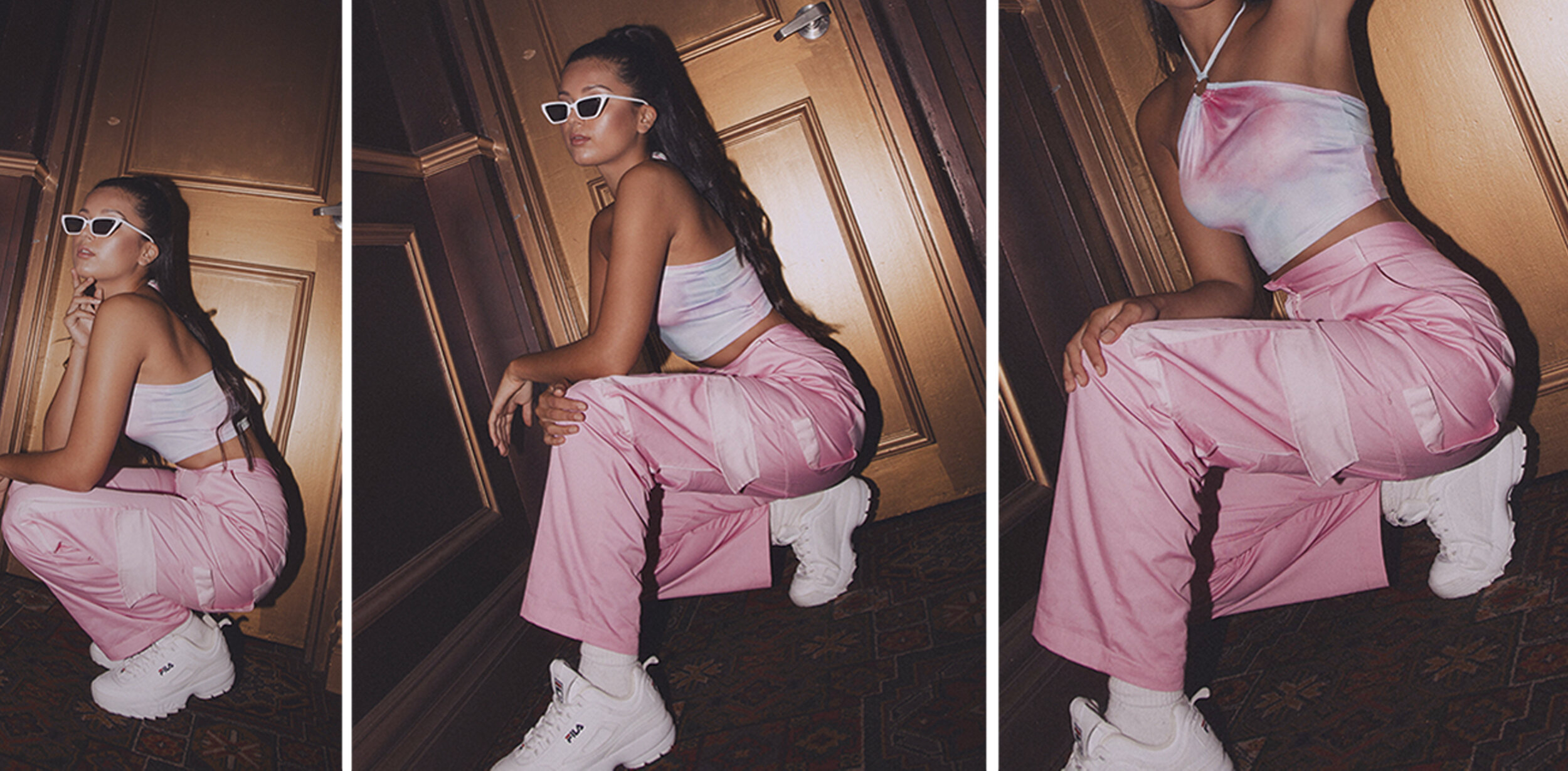 Zoe wears the  Blue Bell Top,   Pink Combat Trousers,   FILA Provenance Sneakers  and  Addison Sunglasses.