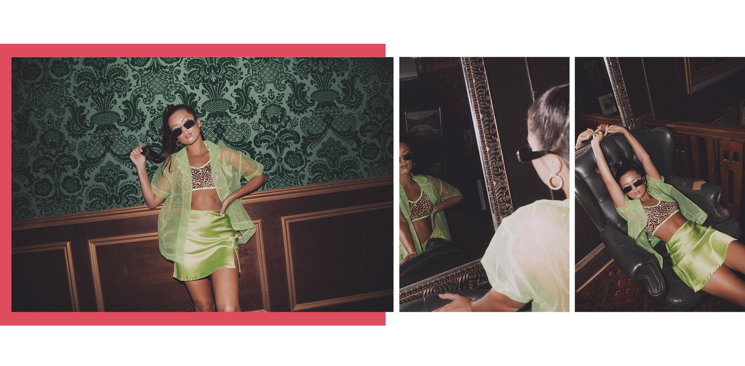 Zoe wears the  Lime Organza Short Sleeved Shirt,   Odessa Top,   Adama Mini Skirt,   Elsa Earrings  and  Diablo Sunglasses.