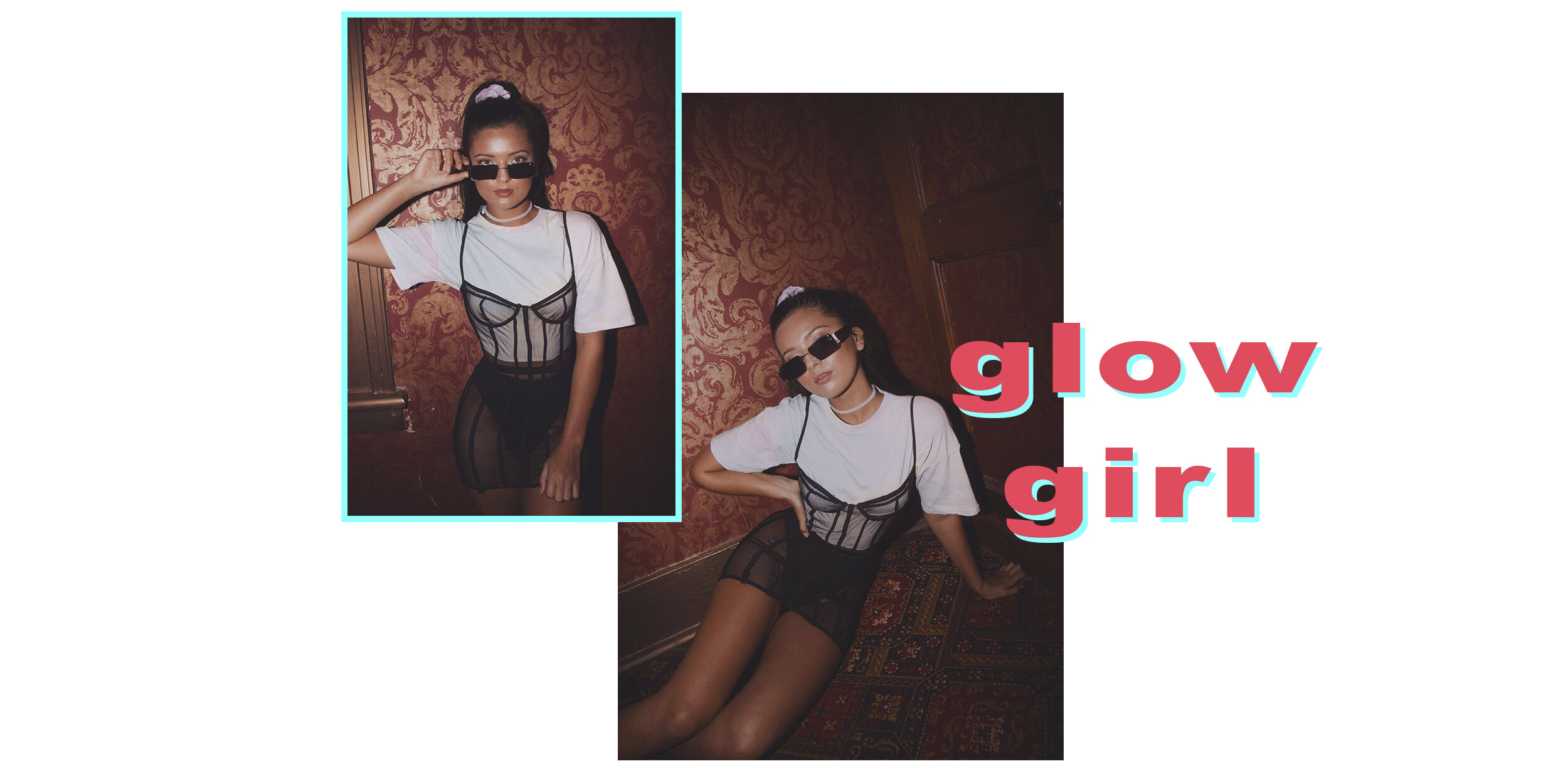 Zoe wears the  Ignite Dress,   Glow up Top,   Teenage Dreams Scrunchie ,  Florence Necklace  and  Diablo Sunglasses.