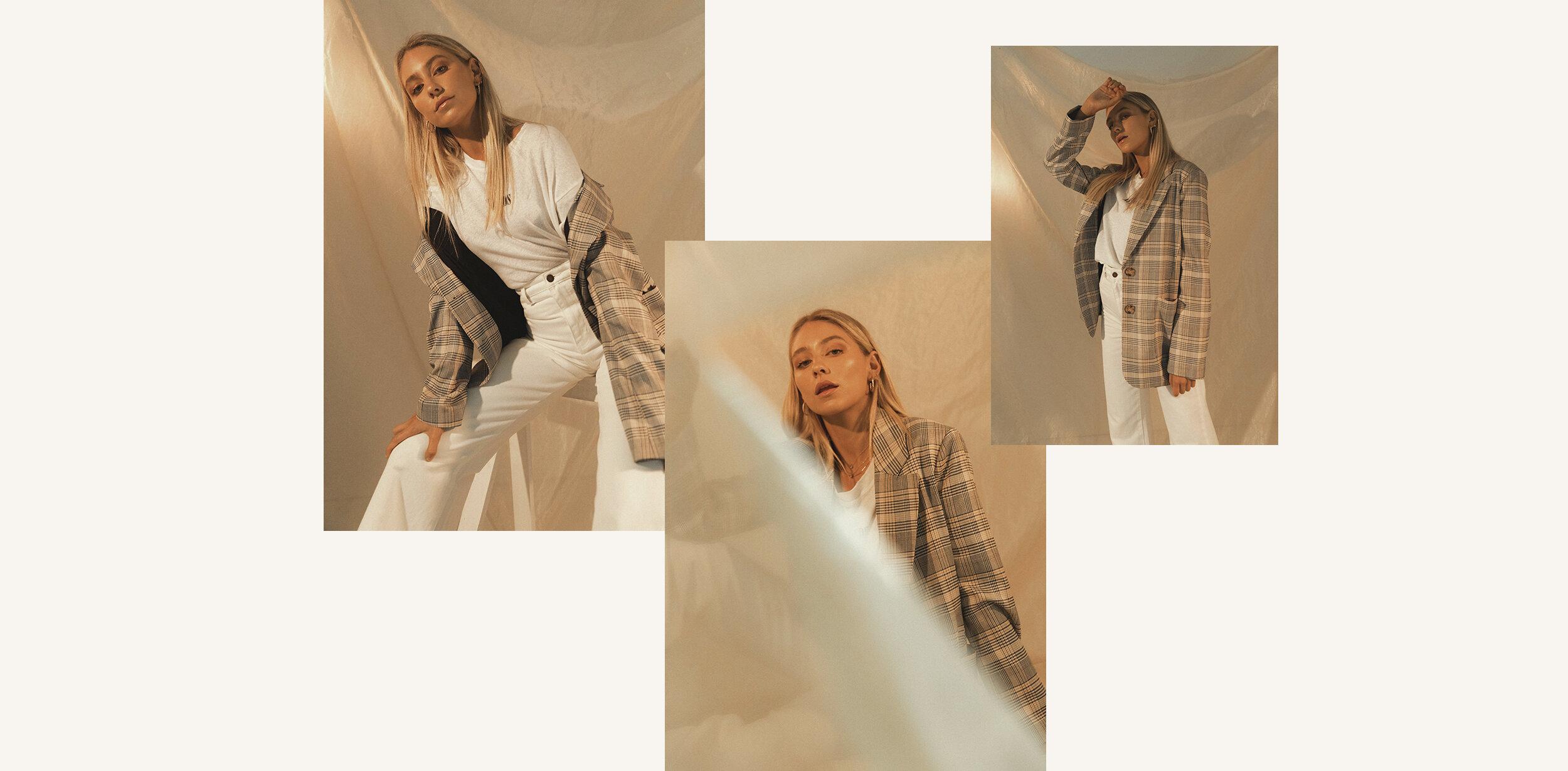 Madison wears the  Landmark Check Blazer,   Courtney Love Hemp Tee  and  Old Mate Jeans.