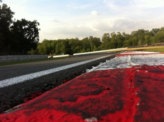 Rumble strips on the exit of Hawthorns bend, Brands Hatch GP circuit.