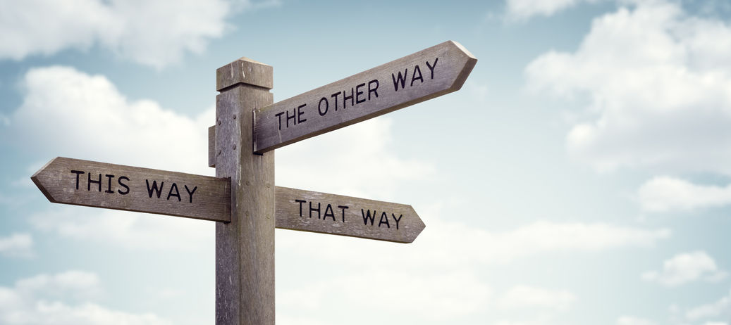 74629231 - crossroad signpost saying this way, that way, the other way concept for lost, confusion or decisions