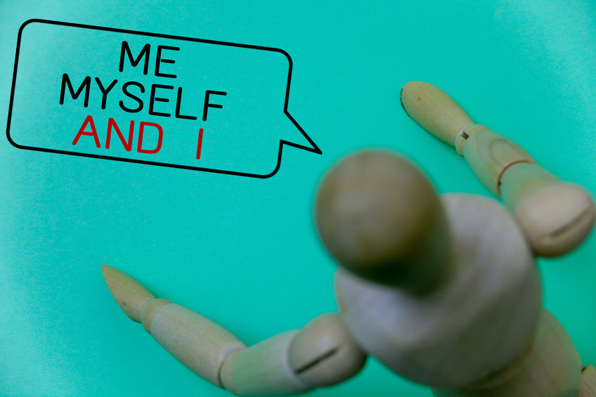 Word writing text Me Myself And I. Business concept for selfish self-independent Taking responsibility of actions Cyan background robot imaginations idea message template thoughts doll.