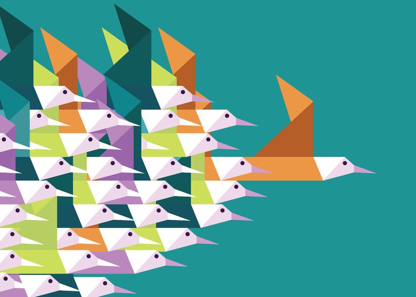 35194767 - geometric group of birds. leadership and competition concept. flat vector illustration