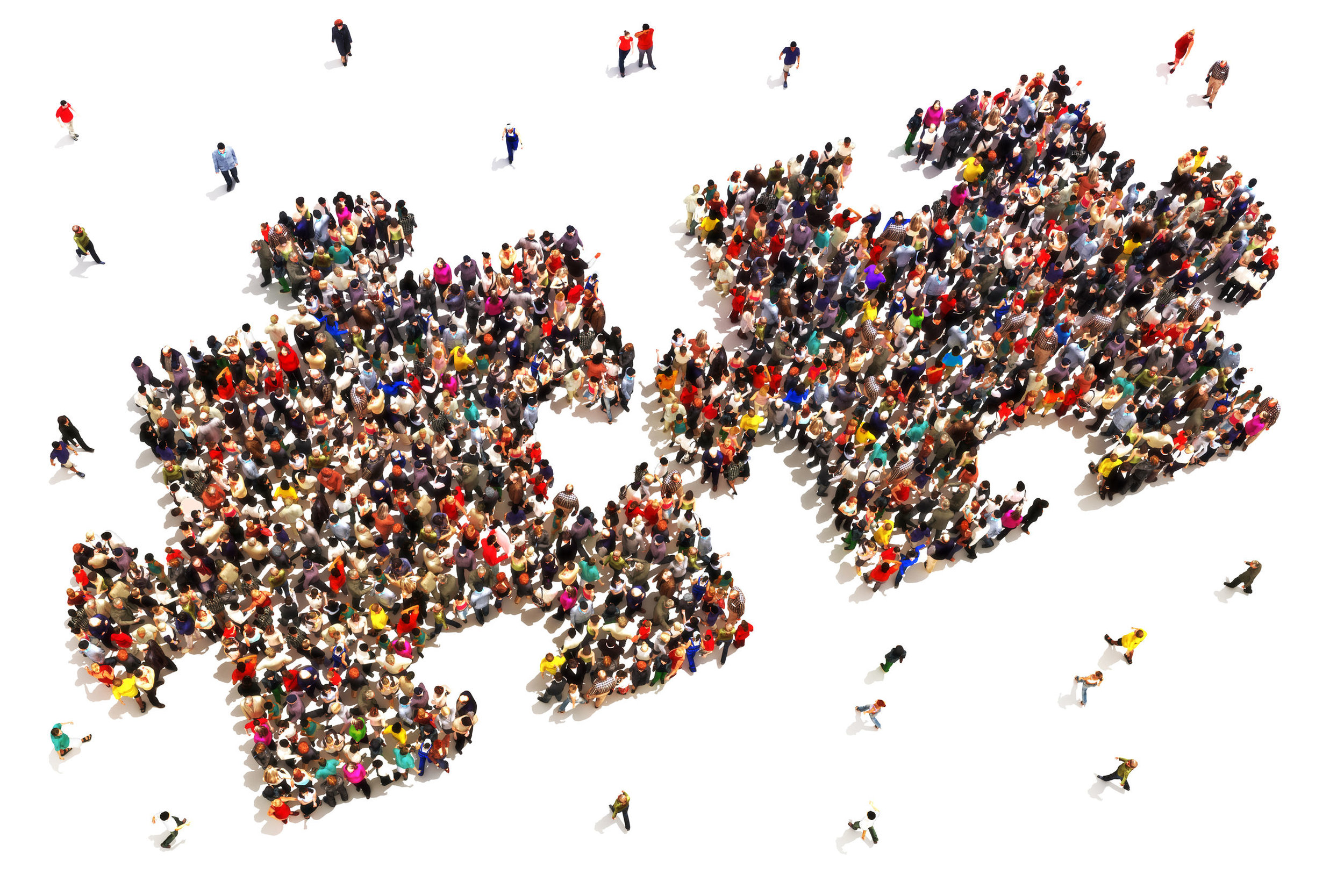34937954 - people putting the pieces together concept . large group of people in the shape of two puzzle   pieces on a white background.