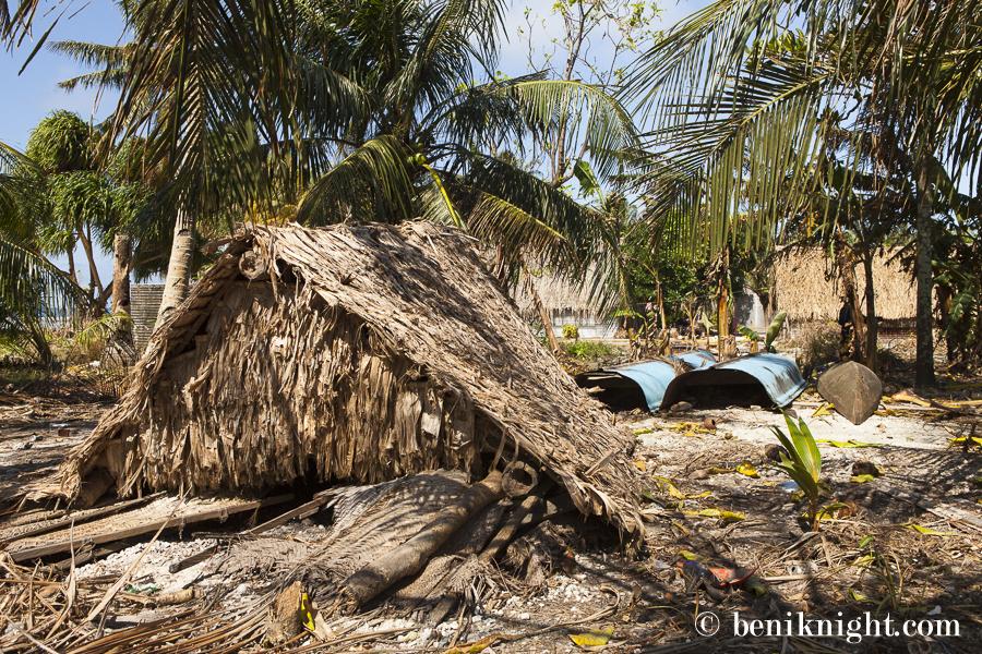 A suspected meteo-tsunami damaged many homes and gardens. Luaniua.