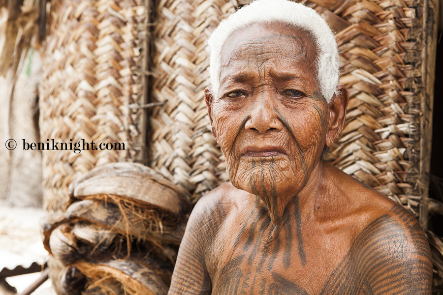One of the last few remaining women to wear the traditional full body tattoo of Ontong Java. Sarah Abora