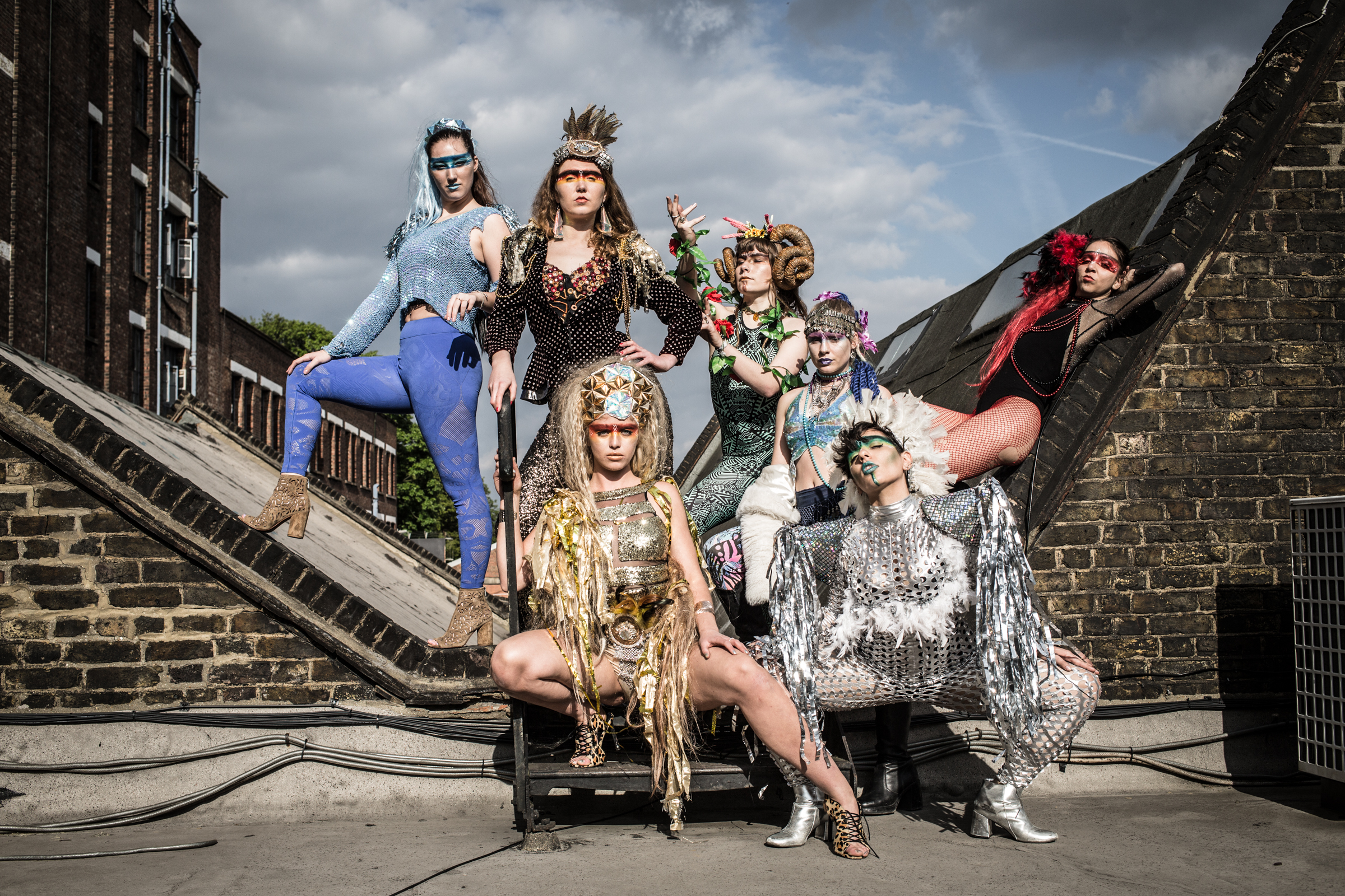 """Pomba Tribe"" Photo-Shoot in Peckham. Photography by  Liz Gorman , Makeup by Sophia Attias  Squiggles & Wiggles , featuring the  Pomba Girls.   Nines Rooftop - Copland Park Estate, Peckham"