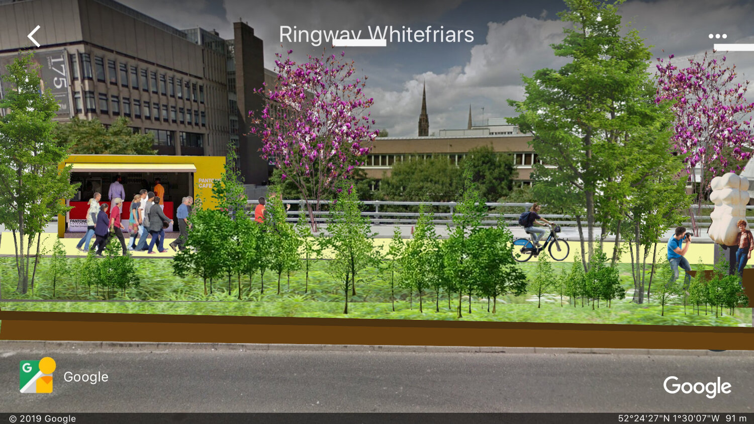 How a Coventry ringroad of the future could look - with the anticlockwise carriageway given over to a 2.25 mile Aboretum Park & cycle-way.. kicking the government's argument for a congestion charge firmly into the long grass .