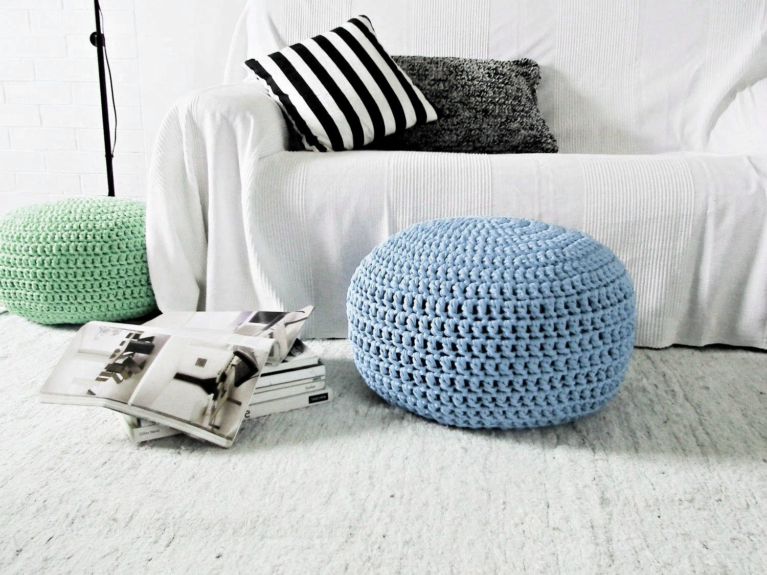 Looping Home Blue Ottoman