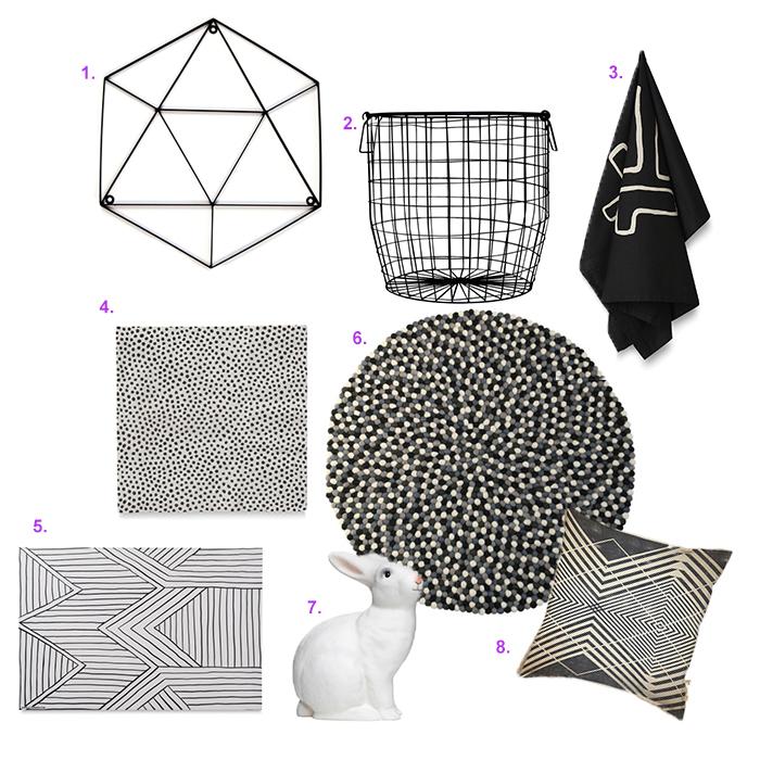 1.  Geo Hexagon Sign  2.  Black Wire Basket  3.  Bogolan Tea Towel Black & Milk  4.  Pois Paper Napkin  5.  Porte Place Mat  6.  Monochrome Freckle Rug  7.  Rabbit Lamp  8.  Architect Cushion