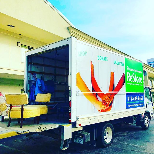 We're wasting no time getting started @thelongleafhotel .  Thanks to @habitatwake @wakerestore for taking a truckload of furniture donations this morning!  #reuse #recycle #visitraleigh #longlivelongleaf