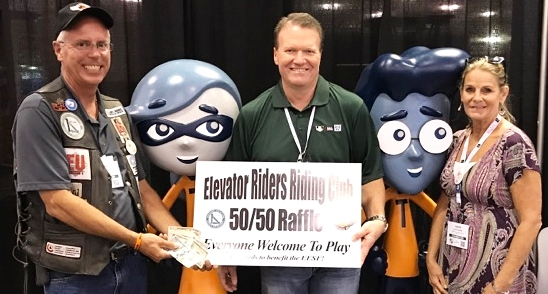 Elevator Riders Riding Club Founder Glenn Duncan, The Winner Of The 50/50 and Laurie Dueitt Program Director of the Elevator Escalator Safety Foundation - NAEC 2017 Atlantic City