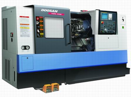 "Doosan PUMA 240 MB - Single Spindle with full C-Axis. Main Spindle has S-26 collet chuck, 8"" chuck and 10"" chuck. Programmable tail stock. LNS quick-load 65 magazine bar feeder. 2 3/4bar capacity"