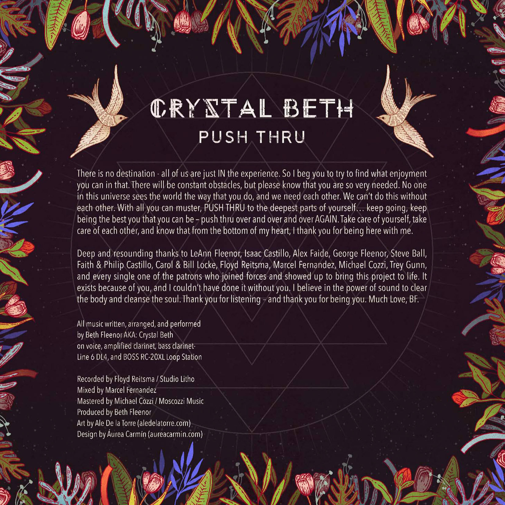 Art for Crystal Beth's  Push Thru  album by Ale De la Torre. Album back cover art for CD and vinyl.