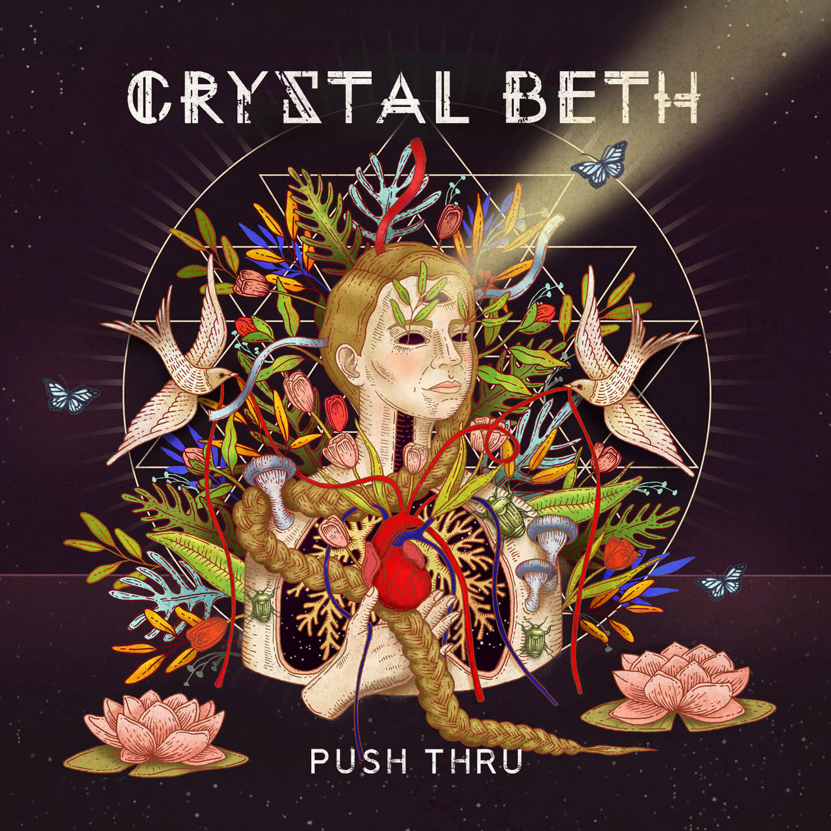 Art for Crystal Beth's  Push Thru  album by Ale De la Torre. Album cover art for CD and vinyl.