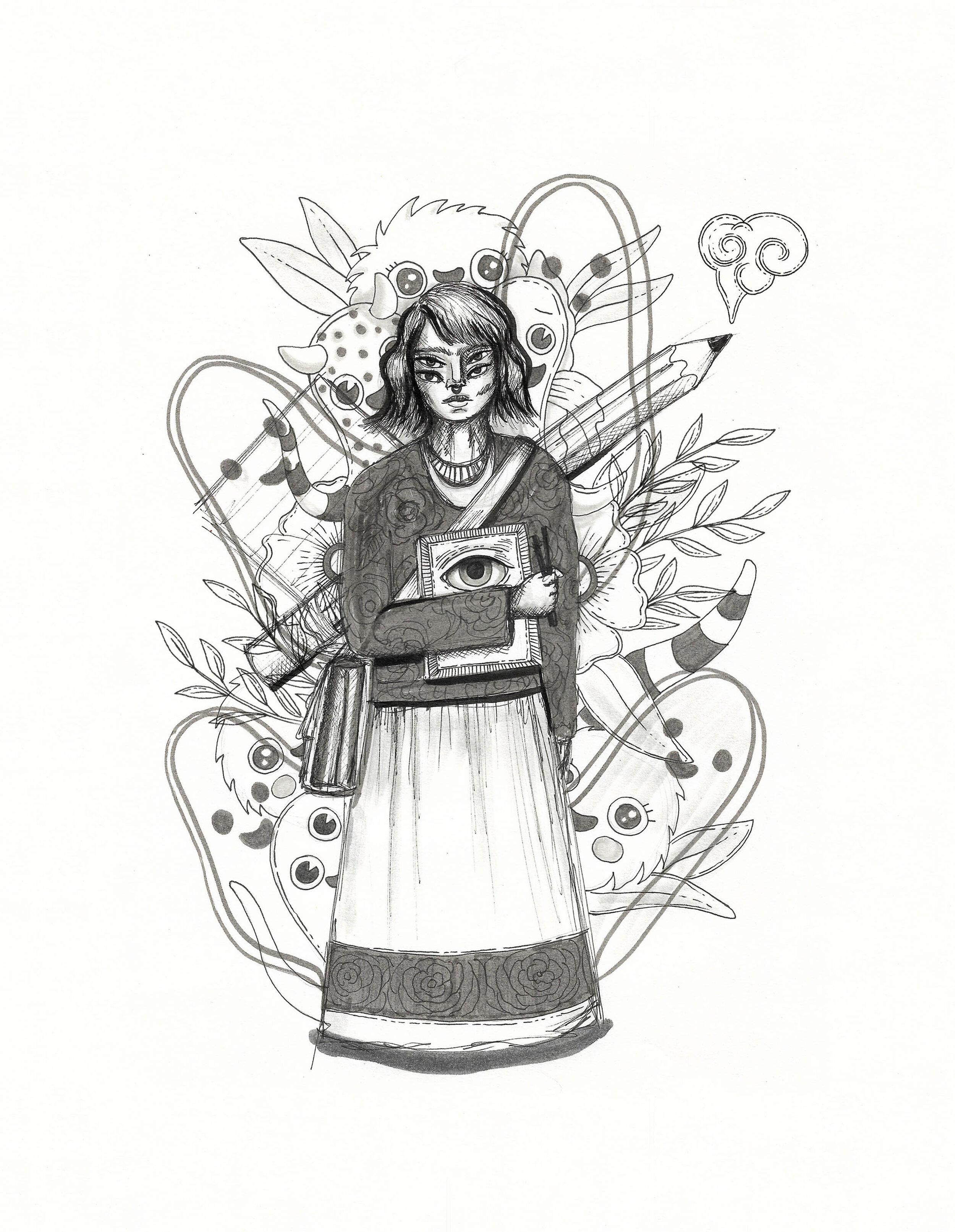 Inktober 2019 Ink drawing illustration artwork by Ale De la Torre Ink on paper