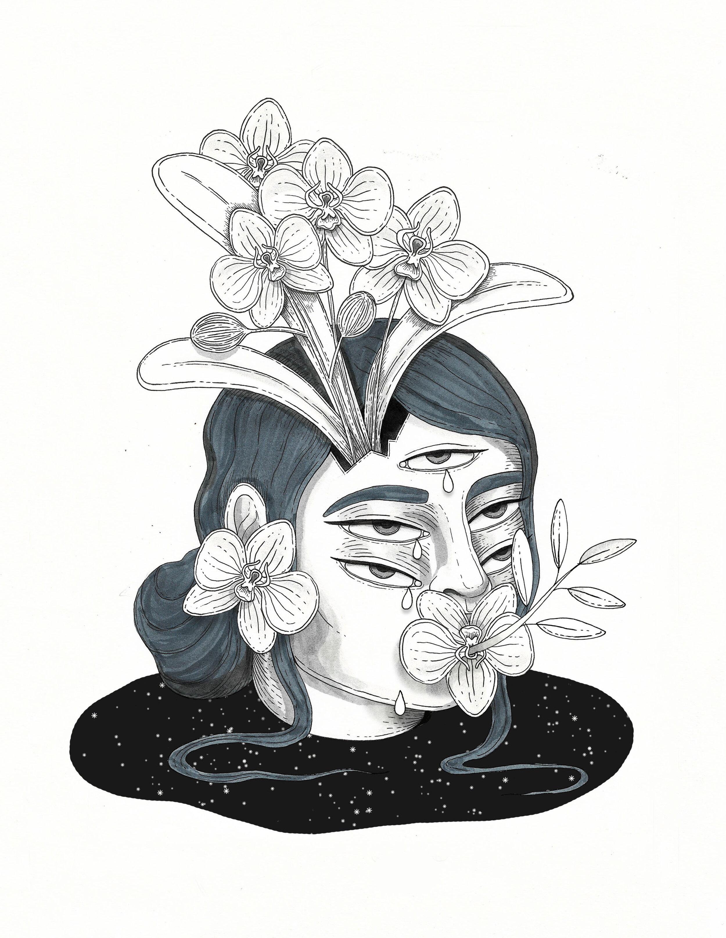 Ink drawing illustration artwork by Ale De la Torre Inktober 2019. Ink on paper