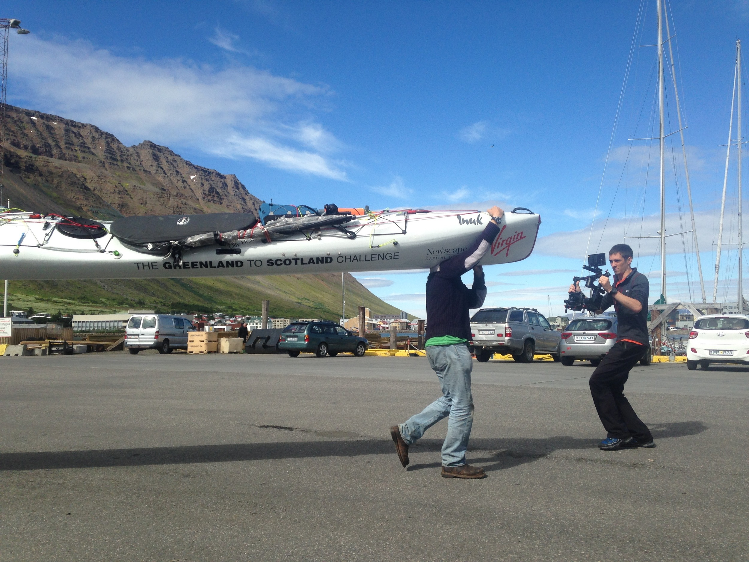 Transporting the kayak onto Aurora to take her up to Greenland