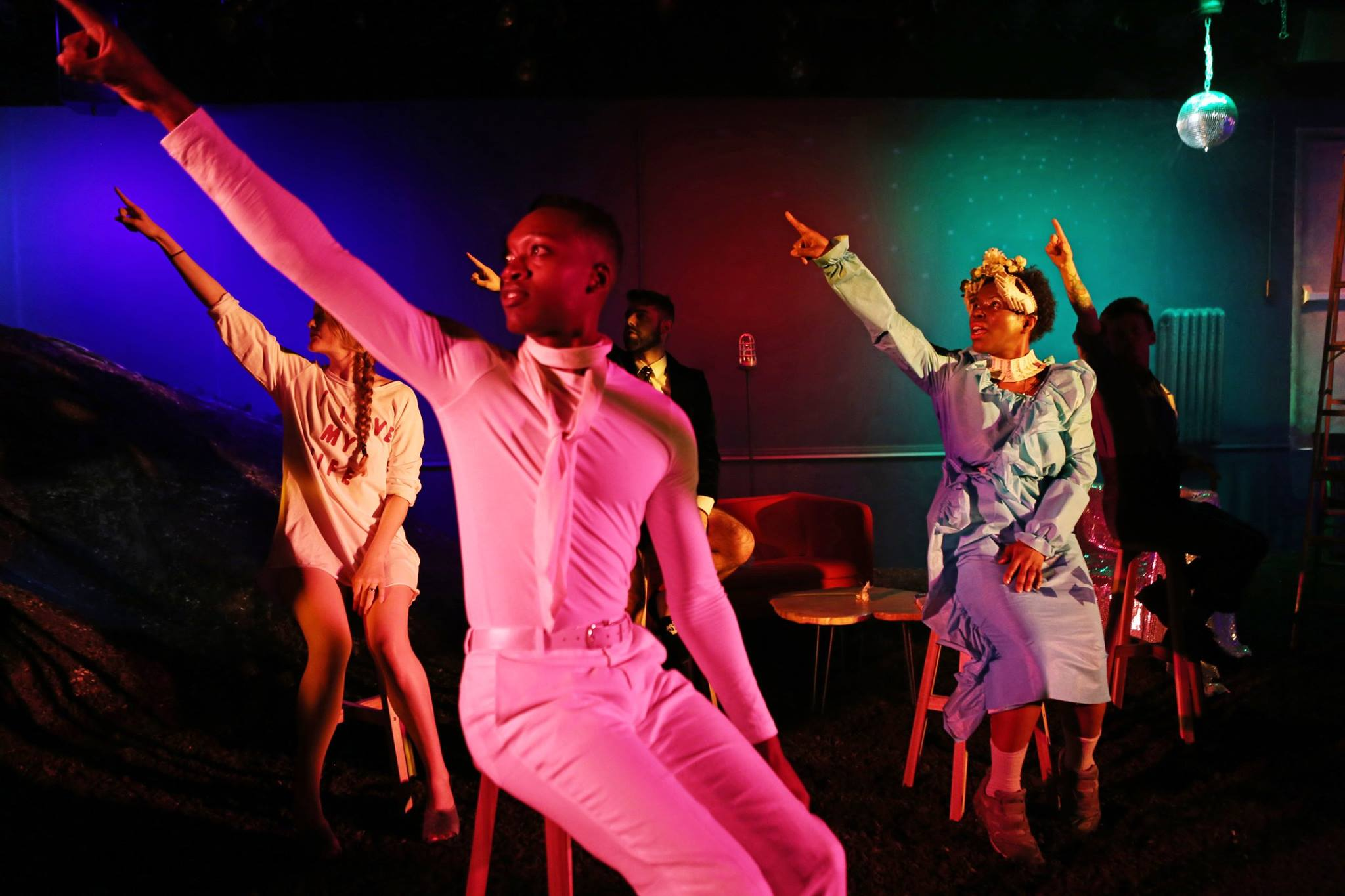 "Left to right: Emily Davis, Ato Blankson-Wood, Tommy Heleringer, Julienne ""Mizz June"" Brown, Jess Barbagallo in O, Earth at HERE, produced by The Foundry Theatre. Photo by Julieta Cervantes."