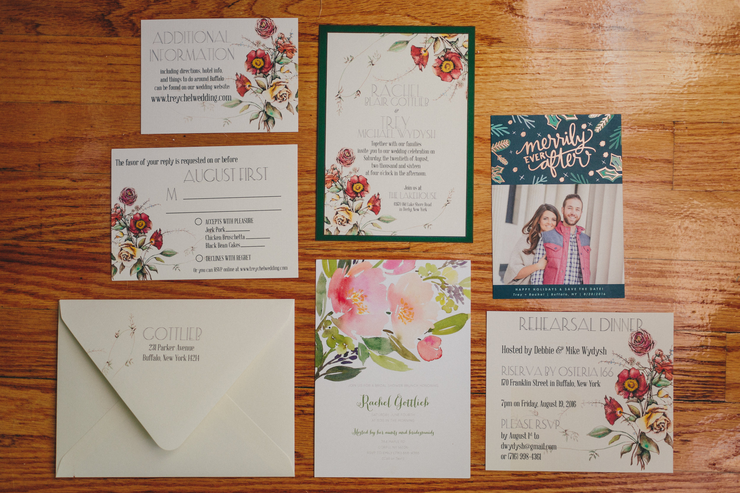 Our Custom-Designed Wedding Invitation suite, and Save-the date and Shower Invite from Minted.com