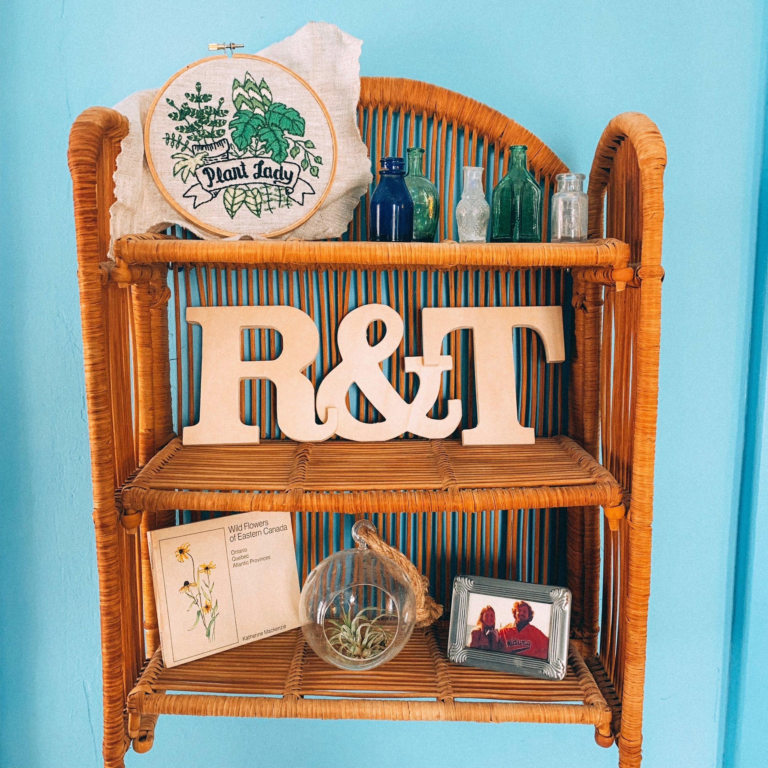 My mother's vintage rattan shelf