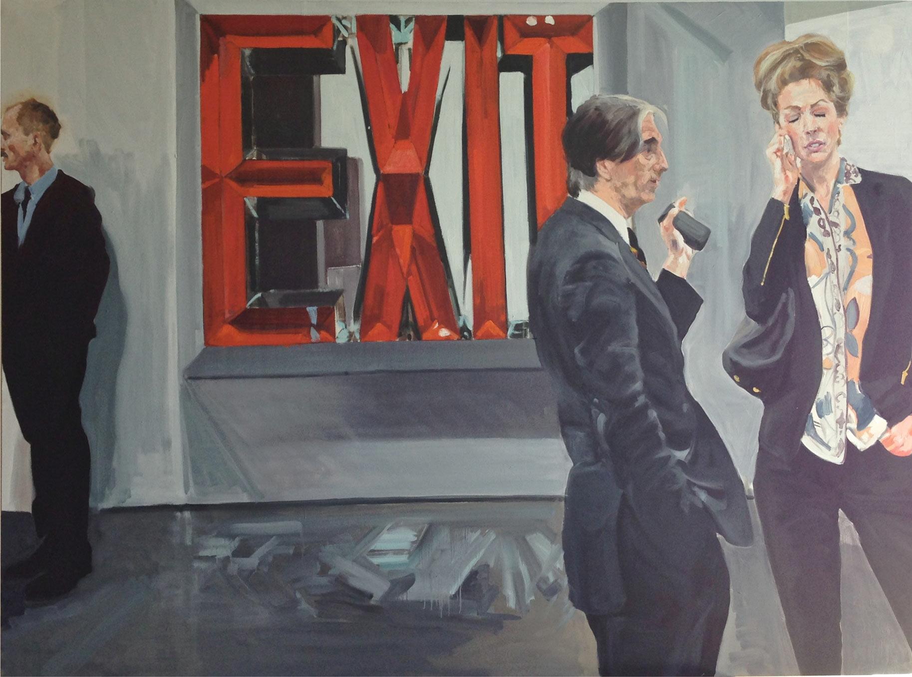 Art Fair: Booth #1 EXIT, 2014. Oil on Linen. 82 x 110 in. (208 x 279 cm.)