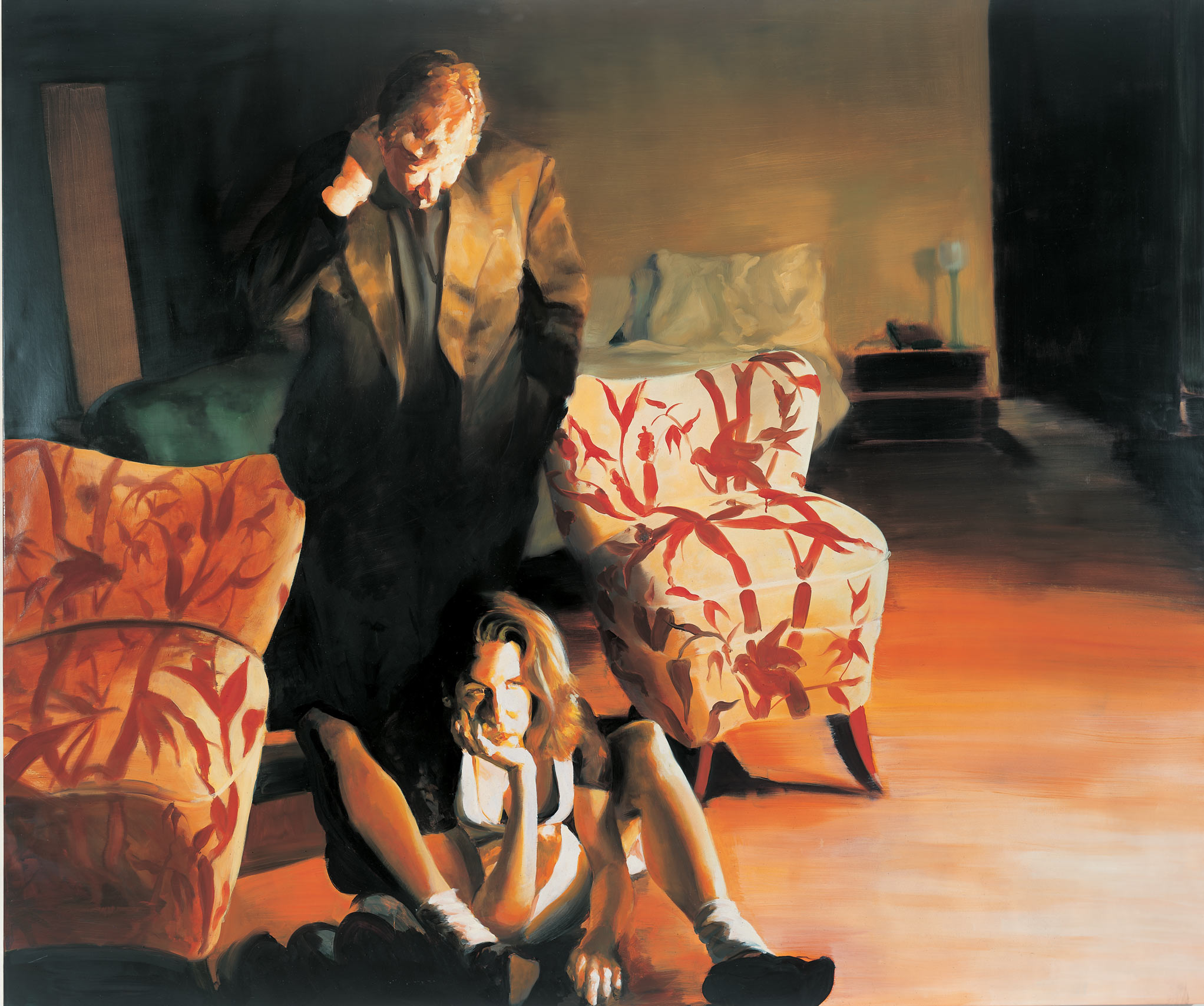 The Bed, The Chair, The Sitter, 1999. Oil on linen. 78 x 93 in. (198 x 236 cm.)
