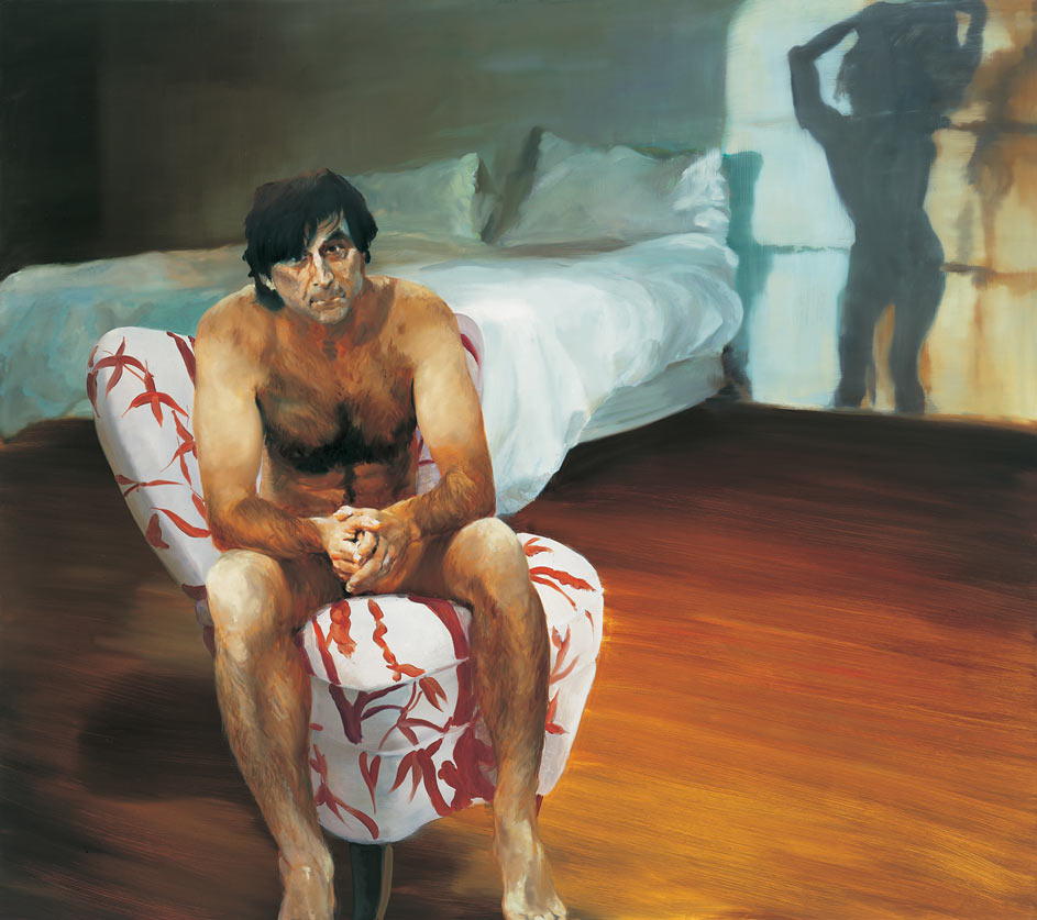 The Bed, The Chair, Dancing, Watching, 2000. Oil on linen. 69 x 78 in. (175 x 198 cm.)