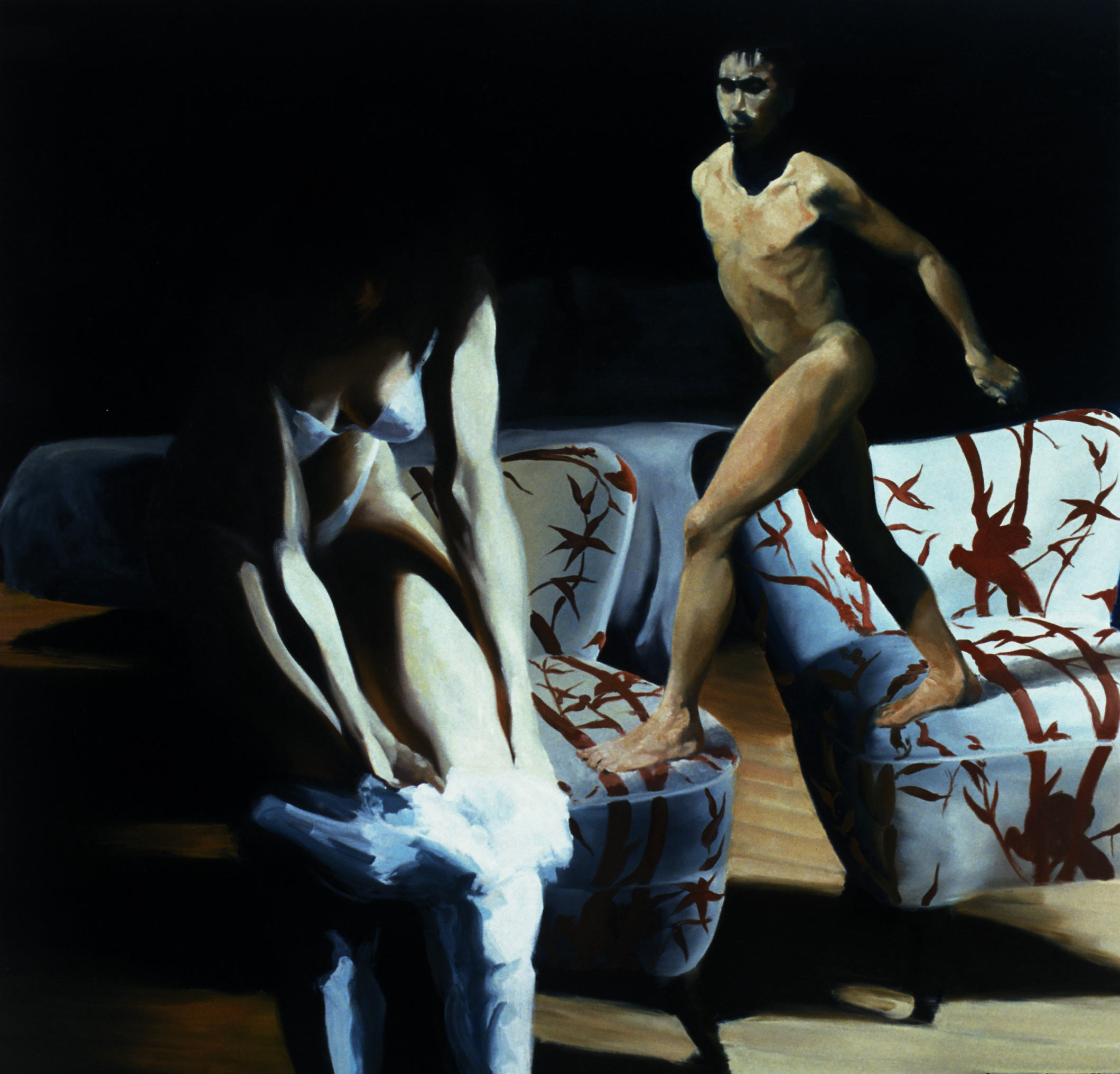 The Bed, The Chair, Changing, 2000. Oil on linen. 98 1/4 x 103 in. (250 x 262 cm.)