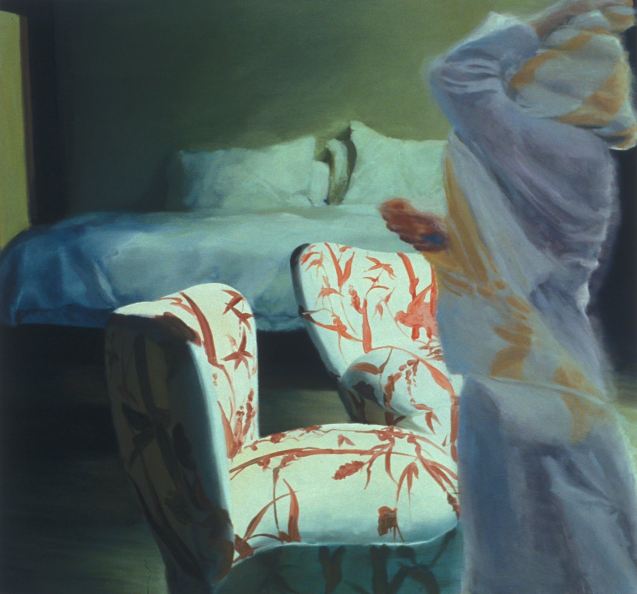 The Bed, The Chair, Crossing, 2000. Oil on linen. 69 x 74 in. (175 x 188 cm.)