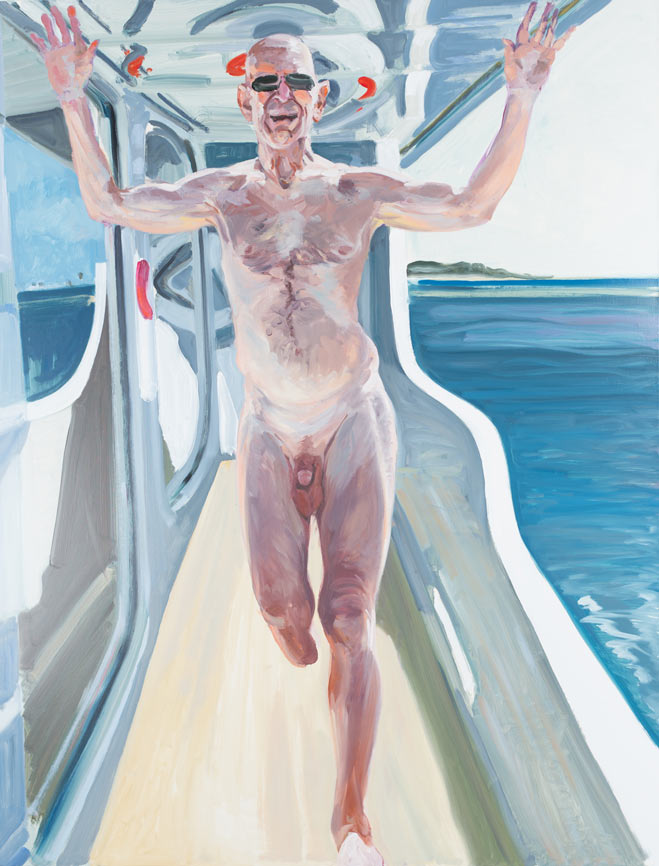 Peter at 80 on the Lady Janet, 2013.
