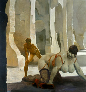 Untitled (Homage to Fellini), 1996. Oil on Linen. 72 x 68 in. (183 x 173 cm.)